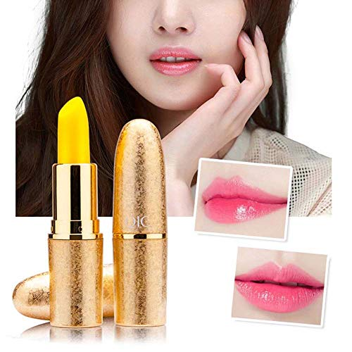 GsMeety Lippenpeeling, Kugel Lippenstift Farbe Verändert Lippen Pop, Moisturizing Chapped Anti Trill Temperaturänderung Lip Balm Damen - 3G