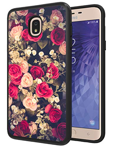 Galaxy J7 Star Case, J7 Refine Case, J7 Crown Case, J7 Samsung Case 2018, ANLI [Fashion Flowers Design] Drop Protection Hybrid Dual Layer Armor Protective Phone Case for Girls and Women Black