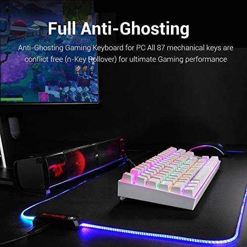 Redragon K552 Mechanical Gaming Keyboard RGB LED Rainbow Backlit Wired Keyboard with Red Switches for Windows Gaming PC (87 Keys, White)