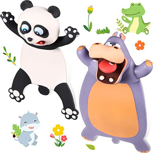 2 Pieces Ouch Bookmarks 3D Cartoon Animal Bookmarks PVC Wacky Pals Bookmarks Funny Cute Animal Stationery Plastic Birthday Party Favors for Kids Students Teens Help with Reading, Panda and Hippo