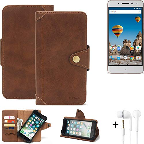 K-S-Trade® Handy Hülle Für General Mobile GM 5 Plus Schutzhülle Walletcase Bookstyle Tasche Handyhülle Schutz Case Handytasche Wallet Flipcase Cover PU Braun Inkl. In Ear Headphones (1x)