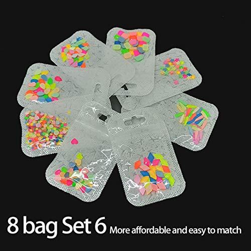 Le nouvel ensemble de strass fluorescents nail art 4 packs et 8 packs combinés 6 couleurs mélangées pour la décoration des ongles, 8bag Set 6