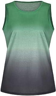 Hmarkt Womens Ombre Crew Neck Sleeveless Tank Tops Blouse T-Shirt