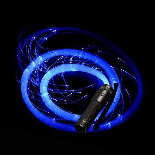 Glasfaser LED Licht MASCARELLO Faseroptik LED Tanz Whip Glow Licht Rave für Party Halloween Weihnachten Super helles Licht bis Rave Spielzeug for EDM DJ Karneval Tanzperformance (Schwarzer Griff)