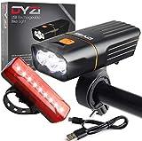 DYZI USB Kit luci bici ricaricabili usb -Faro bici e faro mtb impermeabile - Luce anteriore e posteriore,...