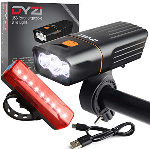 DYZI USB Rechargeable Bike Lights Set -Waterproof Front Headlight - Water Resistant Tail Light Easy to Fit & Mount-Built in Powerbank for charging devices