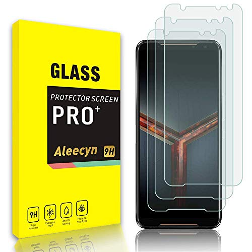 ALEECYN Cristal Templado para Asus ROG Phone 2 (ZS660KL) , Vidrio Templado Protector de Pantalla Película Protectora, Dureza 9H, Anti - arañazos Anti-Rasguño,Fácil de instalar [3 pezzi]