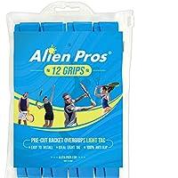 Alien Pros テニスラケットグリップテープ(12グリップ)–プレカットで軽量なタックフィールテニスグリップ - テニスオーバーグリップテープ テニスラケット - ラケットに巻いて高性能にしましょう。(12グリップ,ブルー)