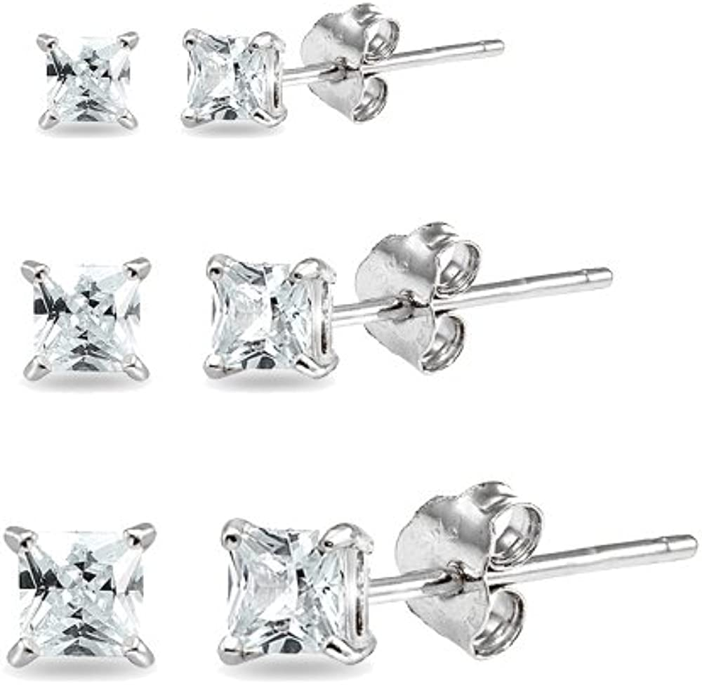 3 Pair Set Sterling Industry No. 1 Max 76% OFF Silver St Square Zirconia Princess-Cut Cubic