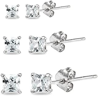 3 Pair Set Sterling Silver Cubic Zirconia Princess-Cut Square Stud Earrings, 2mm 3mm 4mm