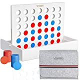 YESMARKS Wooden 4-in-a-Row Game Tic Tac Toe Tabletop Board Set for Family Picnic Camping Party White Wood Frame - 42 Red and Blue Toy Chips - Storage and Carrying Bag