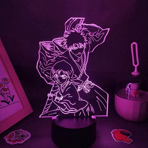 Luz LED de ilusión en 3D, luz nocturna, diseño de anime, Kurosaki, Ichigo Shikai y Pasteliki Rukia manga, habitación, lámpara de mesa, decoración de mesita de noche, regalo de cumpleaños