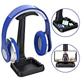 EURPMASK Universal Headphone Stand Hanger with Phone Holder,[Non-Slip Design] Earphone Holder for Desk with Extra Storage Space for All Headphones, Gaming Earphone Display Headset Hook Mount-Black