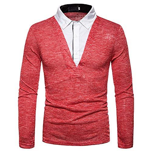 Herren Shirt Langarm Zweiteilige Tshirt Männer Freizeit Business Hemd Kragen Shirt Langarm mit Tiefem V-Ausschnitt Knopf Revers top Slim fit Stretch Neuheit Patchwork Leichtes Shirt XL