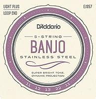 DエAddario EJS57 5 - String Banjo Strings, Stainless Steel, Custom Medium, 11