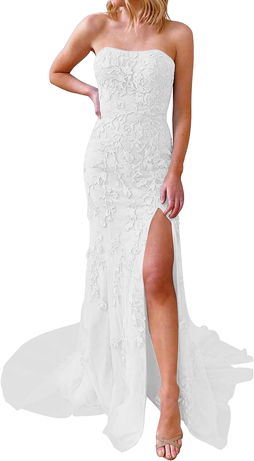 Wedding Dress for Bride Lace Bride Dresses Strapless Bridal Gown with Split Wedding Gowns