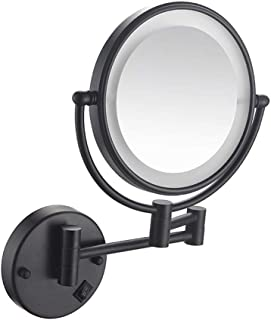 Bathroom Shaving Mirror Wall Mounted 8 Inch USB Charge Makeup Mirror with LED Lights and 1x/3x Magnification Vanity Mirror Extendable Arm Built-in Lithium Battery