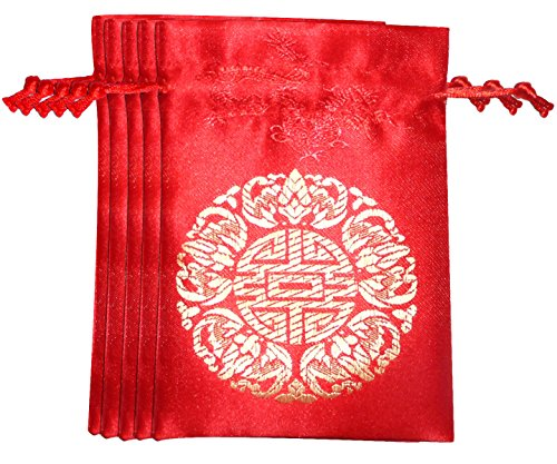 Lucore 5 Fortune Red Brocade Pouches - 5 PC Set of...