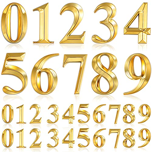 30 Pieces 3D Mailbox Numbers 3D Self Adhesive Door Address Numbers 0-9 Reflective House Numbers Street Address Plaques Numbers for House Mailbox, Apartment, Hotel, Door, Room (2 Inch, Gold)