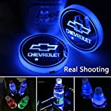 CAR FANS 2pcs fit Chevrolet LED Cup Holder Lights,7 Colors Changing USB Charging Mat Luminescent Cup Pad, LED Interior Atmosphere Lamp