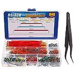 BOJACK 14 Vaules 840 pcs 2-125mm Solderless Flexible Breadboard Connecting Line Cables Breadboard Jumper Wires kit
