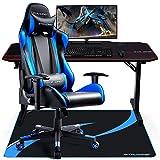GTRACING Bodenschutzmatte Gaming Stuhlmatte Stuhlunterlage für Hartböden 110 x 90 cm Blau