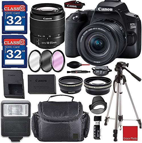 Canon EOS 250D / Rebel SL3 Digital SLR Camera Kit with EF-S 18-55mm III Lens (Black) and Premium Accessory Bundle