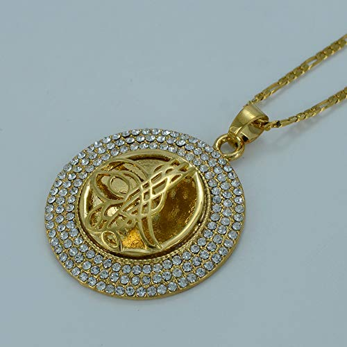 Pavo Moneda Collar para Las Mujeres Oro Color árabe Monedas joyería al por Mayor Osmanli Turklerin Colgante Rhinestone