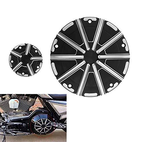 AQIMY バイク用 ダービーカバー タイミングタイマーカバー CNCアルミ ハーレー用 ツーリング ロードキング モデル対応 エンジンカバー キャップ ブラック