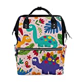 Baby Diaper Bag Backpack Mummy Bag Cute Dinosaurs On Pink Multi-Functional Large Capacity Nappy Bag for Mom Dad by Top Carpenter