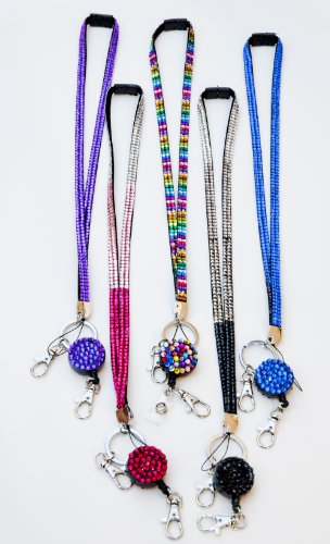 Mix Pack of 5 Hot New Shimmering Rhinestone Lanyard with Retractable Rhinestone ID Badge Reel Holder, ID Badge Holder and Key Chain