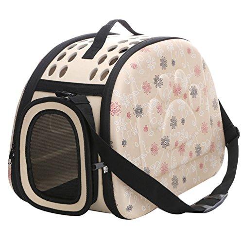 JEELINBORE Praktisch Schön Transporttasche Atmungsaktiv Transportbox Tragekorb für Katzen Hunde für Reisen (Aprikose, M)