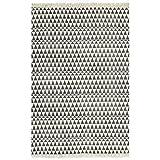 GJEFEGS vidaXL Kelim-Teppich Baumwolle 120x180 cm mit Muster Schwarz/Weiß