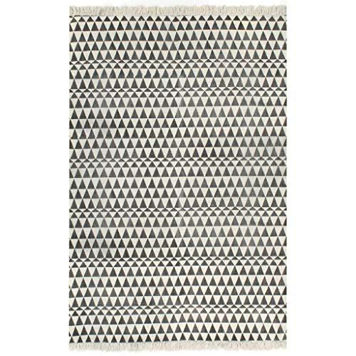 UnfadeMemory Kelim-Teppich Baumwolle Teppich Wohnzimmerteppich Kinderzimmerteppich Vintage-Look Handgewebt Baumwollteppich mit Dekorative Quasten (120x180 cm, Mit Muster Schwarz/Weiß -#2)