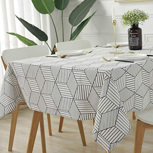 SASTYBALE Rectangle Tablecloth Geometric Style Cotton Linen Table Cloth Dust-Proof Table Cover for Kitchen Dinning Tabletop Decoration (Rectangle/Oblong, 52' x 70' (4-6 Seats), White)