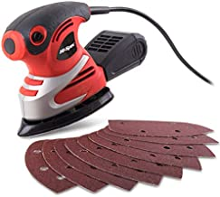 Hi-Spec 12 Piece 1.6A 200W Palm Detail Orbital Mouse Sander with 10 Sheets Sandpaper. Hand-held Powered Sanding of Wood, Paint &Varnish for DIY Woodworking