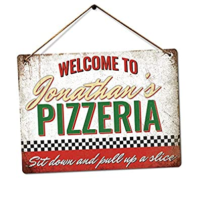 Customised Pizzeria - Personalised Pizza Sign – Medium Twine | Printed Metal Wall Sign Plaque from TSTD MERCH