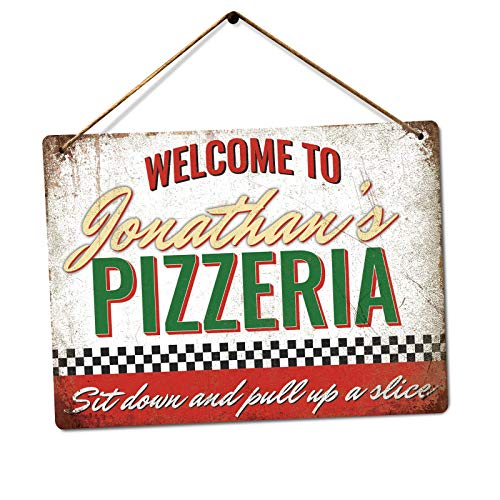 Customised Pizzeria - Personalised Pizza Sign – Medium Twine | Printed Metal Wall Sign Plaque