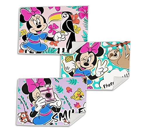 Set di 3 asciugamani per bambini, asciugamano per ospiti, salvietta per il viso, salvietta per la pulizia del viso, 40 x 30 cm, in microfibra, diversi motivi (Minnie Mouse)