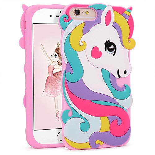 Vivid Unicorn Case for iPhone 8 Plus /7 Plus/6 Plus/6S Plus+ 5.5,3D Cartoon Animal Character Cute Soft Silicone Rubber Pink Cover,Animated Fashion Cool Skin Shell for Kids Child Teens Girls(876 Plus)