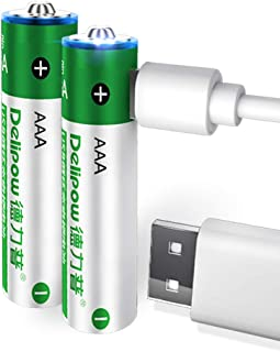 Delipow AAA Rechargeable Batteries,USB 1.5V Lithium Rechargeable Batteries, 1000mWh AAA Battery ,1 H Quick Charge ,1200 Cycle with 2 in 1 Micro USB Charging Cable,2-Pack