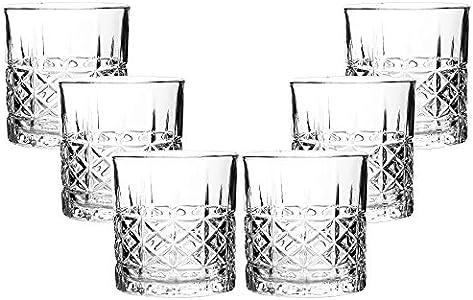 RM Design Juego de 6 vasos de whisky, diseño de panal, 330 ml, aptos para lavavajillas