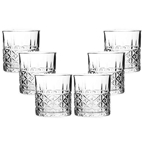RM Design Set di 6 bicchieri da whisky, effetto nido d'ape, 330 ml, per whisky e rum, lavabili in lavastoviglie