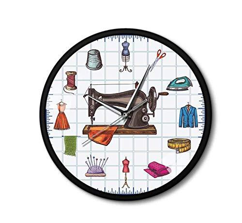 hutianyu Quilting Time Seamstress Crafting Room Wandklok Horloge Naaien Accessoires Naaimachine Metalen Frame Wandklok voor haar