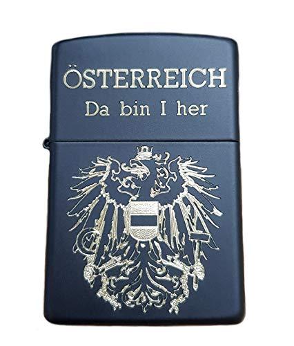 Real Bullet Design Zippo Feuerzeug ÖSTERREICH Da Bin I her Österreich Adler Black Edition Schwarz mit Gold Schrift