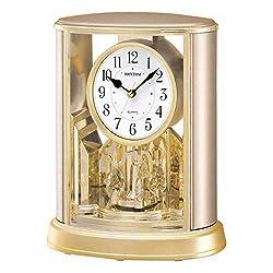 CAO-Decor Mantel Table Clock, Crystals Tone Mantle Clocks with Rotating Pendulum, Mechanical Quartz Silent Desk Shelf Ornaments Clock, Stylish Rhythm Matle Clock, 19.6X24.0Cm
