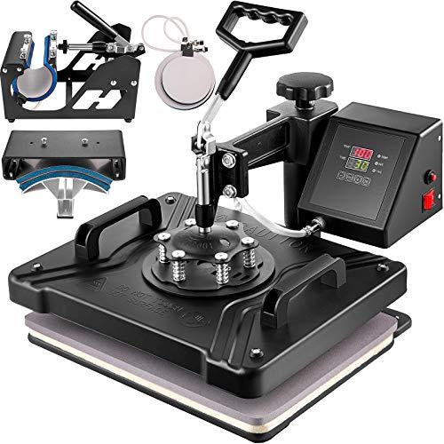 VEVOR 5 in 1 Transferpresse 38x30cm Heißpresse Maschine T-Shirt Presse Maschine Hitzepresse Maschine DIY Heat Press mit Digitaler LED-Temperatur- und Zeitcontroller (5 in 1)