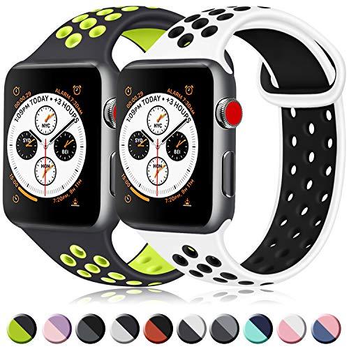 ATUP コンパチブル Apple Watch バンド 42mm 38mm 44mm 40mm、ソフトシリコン交換用リストバンド iWatch series 5/4/3/2/1に対応、iWatchは含まれていません (42/44 M/L, 12 白/黒+黒/緑)