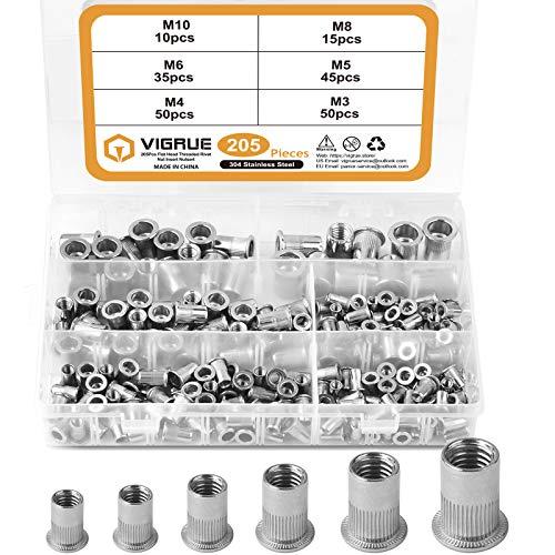 VIGRUE 205PCS 304 Stainless Steel Rivet Nut Assort Set Flat Head Threaded Rivetnut Insert Nutserts Assortment Kit(M3| M4| M5| M6| M8| M10)