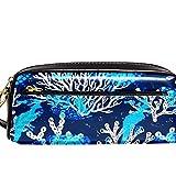 Estuche de cuero para lápices de cosméticos, bolsa de artículos de tocador, bolso de mano, organizador de papelería, con correa de mano, fondo azul del mar